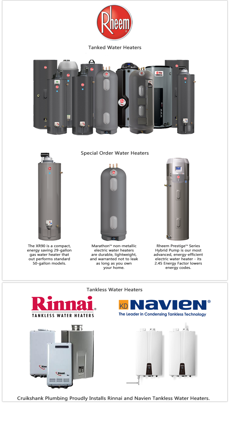 tanked and tankless hot water heaters